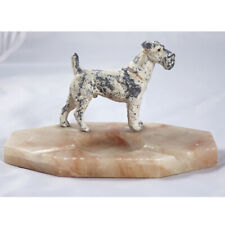 More details for vintage terrier dog 1930's ash / pin tray, marble base - art deco - fox terrier