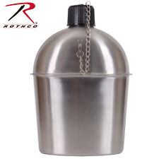 Rothco GI Style 1.3 Quart Stainless Steel Canteen - Screw On Cap With Chain