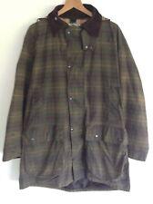 Mens Antartex Country Green Tartan Waxed Cotton Longline Hooded Jacket Size L