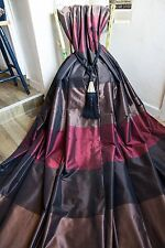 NEXT STRIPED CURTAINS EYELET 53x54 TAUPE,DEEP RED,BROWN,METALLIC SILK,LINED