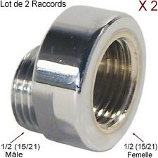 Lot 2 Raccords,Luxe, Décalé 5 mm,Excentré,1/2 (12/21) Laiton Chromé,Mâle-Femelle