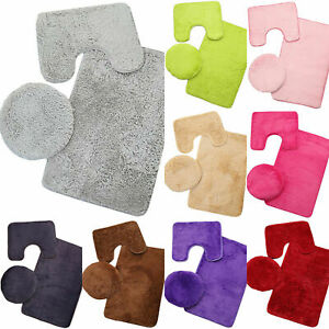 Plain Carpet Contour Toilet Anti-Slip Bathroom Lid Cover Bath Mat 3PCS Rug Sets