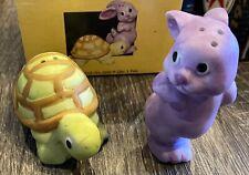 Rabbit And Tortoise Salt Pepper Shakers New