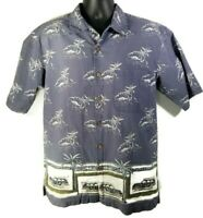 Roundtree & Yorke Mens M Hawaiian Shirt Gray Palm Tree Surfboard Cars