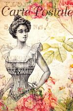 Postcard French Vintage Shabby Chic Style, Lady, Fashion, Corset, Floral, 3K