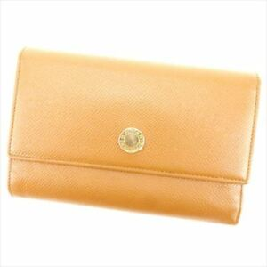 Bvlgari Wallet Purse Long Wallet Brown Gold Woman unisex Authentic Used P742
