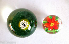 """Paperweights 2 Glass Millefiori & Red Flower Poinsettia 2.5"""" & 1.75"""" Paperweight"""