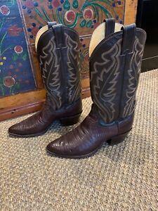 Justin Iguana Lizard Western Cowboy Boots Style 8306 Chocolate Mens US Size 7.5