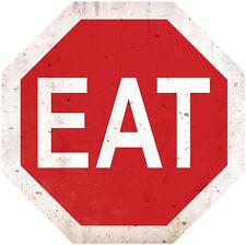 Stop EAT Stoppschild Essen Imbiss Fastfoot Werbung Retro Sign Blechschild Schild