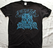 SKULL AND ROSES DAY OF THE DEAD FUERZA LABEL T Shirt (Tee Shirt) Black Medium