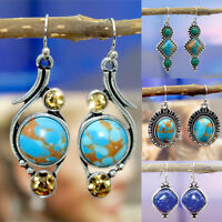 1 Pair Fashion Women's Boho Plated Silver Turquoise Dangle Hook Earrings Hot