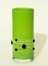 Art Glass Czech Republic - Vintage Handmade Green Galaxy Pattern Vase