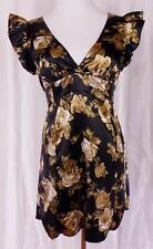 BETSEY JOHNSON~'Swim'~Sz Small~Cap Sleeve~Black with Floral Print~Back Tie~Dress