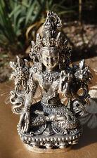 ALTE tibet. Miniatur Statue Weiße Tara in SILBER
