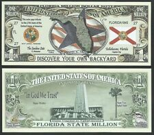 Lot of 500 Bills- Florida State Million Dollar Bill w Map, Seal, Flag, Capitol