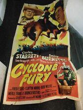Charles Starrett Cyclone Fury Original 3-Sheet Movie Poster #N1318