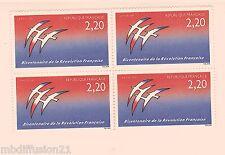 1989 - FRANCE/NEUF**LOGO J.M.FOLON - REVOLUTION - BLOC DE 4 TIMBRES-Yv.2560
