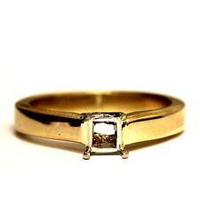 14k yellow gold princess diamond semi mount engagement ring 5.1g estate vintage