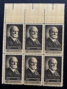 US Stamps, Scott #1195 4c Charles Evans Hughes Issue 1962 Block of 6 XF M/NH