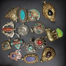 Turquoise Brass Silver Plated 15 Pendants Nepalese Tibetan Nepal Tibet W(18)