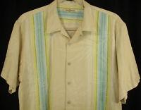 TOMMY BAHAMA Shirt Aqua Cream Stripe 100% Silk Aloha Camp Hawaiian Sz XL