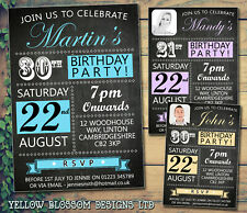 10 Personalised Birthday Invites Party Invitations Blackboard Photo 21st 30th 40