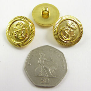 GOLD BOAT ANCHOR PRINTED HABERDASHERY BUTTONS DRESSMAKING 2 SIZES - Packs of 15