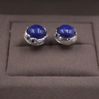 Fine Sterling S925 Silver Earrings Women Lucky Lapis Lazuli Round Stud Earrings