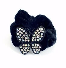 USA Butterfly Ponytail holder Elastic Rhinestone Crystal Hair Tie Rope AB 02