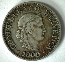 1900 Switzerland 10 Rappen Swiss Helvetia Copper Nickel 10 Cent Coin XF