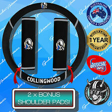 COLLINGWOOD MAGPIES CAR STEERING WHEEL COVER + SEAT BELT COVERS, OFFICIALS AFL!