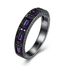 18K Gold Plated Black Gun P Fashion Ring AAA Zirconia Men's Women Unisex B317