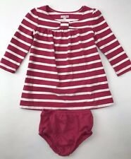 Baby Gap Dress Bloomers Long Sleeve Pink White Striped Toddler Girl 12-18 Months