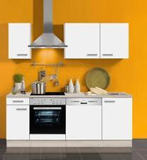 Küchenblock ohne Elektrogeräte Genf 210 cm in weiss mit Edelstahl Spüle