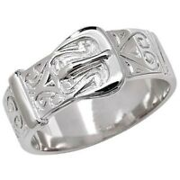 925 Sterling Silver Chunky Buckle Ring - ALL SIZES AVAILABLE - Men's or Ladies