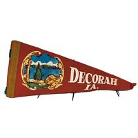 "Vintage 1950's Decorah IA Felt Pennant 12""  Red With Lake Scene No Tassels"