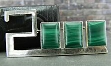 Commemorative Year 2000 Sterling Silver & Malachite Pin/ Brooch