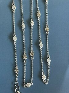 """14ct White Gold solitaire Diamond Necklace 1.80ct Long 20"""" Station By Yard 2ct"""