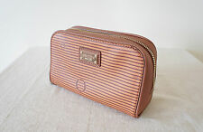 OROTON O Stripe Beauty Case in Chocolate NEW! RRP $95.00