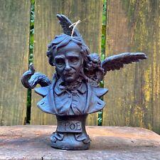 Edgar Allan Poe with Spirit, Ultimate Halloween Black Beeswax Candle, Hemp Wick