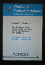Railway Timetable Weekend Train Alterations East Coast Main Line January 1991