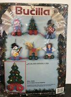 Bucilla Pull Toys Plastic Canvas Christmas Ornaments Kit #61157 Set Of 6 New