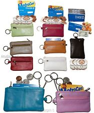 Lot of 9. Change purse,Black Leather Zip coin wallet 2 pocket coin case key ring