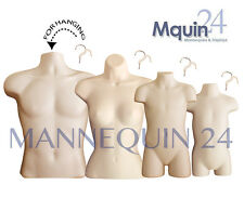 Set Of 4 Flesh Mannequins: Male, Female, Child & Toddler Body Forms + 4 Hangers