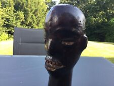 Antique Equatorial Guinea African leather clad wood carved tribal head