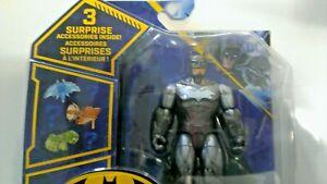 New 2021 SPINMASTER DC BATMAN  Rare Silver & Gray w/ White Chest logo Batman