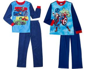 AVENGERS Boys Pajamas 2 Pc Flannel Pants Long Sleeves Kid PJ Set Captain America