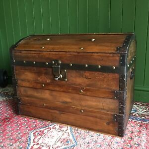 ANTIQUE Victorian Steamer TRUNK Old Pine DomeTop Blanket CHEST Rustic Wooden BOX