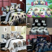 3/4Pcs 3D Printed Animal Cat Dog Bedding Sets Flat Sheet Pillowcase Quilt Cover