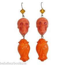 "Tarina Tarantino Sugar Skulls ""Rosebud"" Orange Floral Drop Earrings Made in USA"
